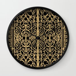 French Wrought Iron Gate | Louis XV Style | Ornate Ironwork | Black and Gold | Wall Clock