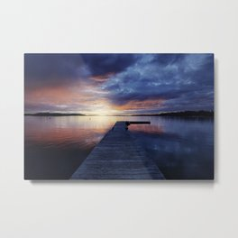 GOLDEN HOUR PHOTOGRAPHY OF DOCKING PIER ON BODY OF WATER Metal Print