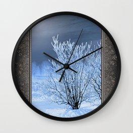 Hoar Frost on the Lilac Bush Wall Clock