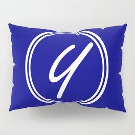 Monogram - Letter Y on Navy Blue Background Pillow Sham