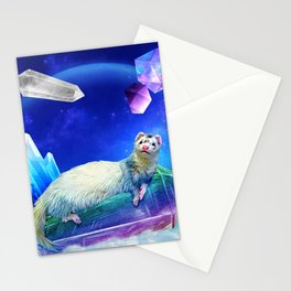 Ferret in the Sky with Crystals Stationery Cards