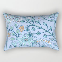 Azure Blue Woodland Floral Design With White and Orange Flowers Rectangular Pillow