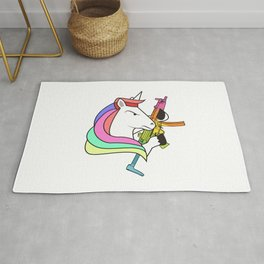 Unicorn fighter soldier muscles weapon rainbow shooting army gift idea Rug