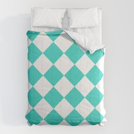 Large Diamonds - White and Turquoise Comforters