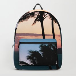 Tropical palm trees swaying in the breeze at sunset on Hamilton Island Backpack