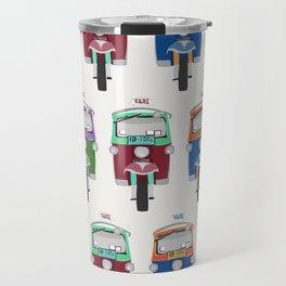 Thailand Tuk Tuks in a Row Pattern Travel Mug