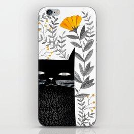 black cat with botanical illustration iPhone Skin