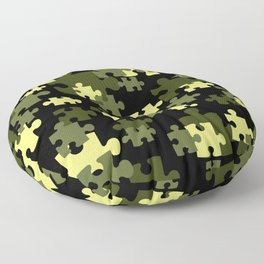 Puzzle preen yellow black Design Floor Pillow