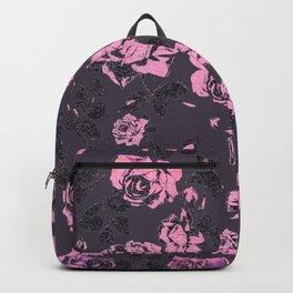 Blush Pink and Black Floral Print Rustic Roses Backpack