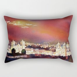 Fine art poured watercolor painting of colonial churches on the Plaza de Armas in Cusco Rectangular Pillow