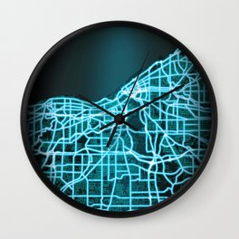 Cleveland, OH, USA, Blue, White, Neon, Glow, City, Map Wall Clock