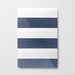 Nautical Blue & White Stripes Metal Print