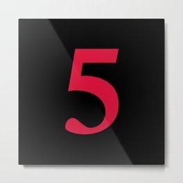 5 (CRIMSON & BLACK NUMBERS) Metal Print