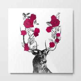 The Stag and Roses | Deer and Flowers | Red | Vintage Stag | Vintage Deer | Antlers | Woodland | Metal Print