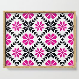Ethnic Folk Eastern European Embroidery with Pink Flowers Serving Tray