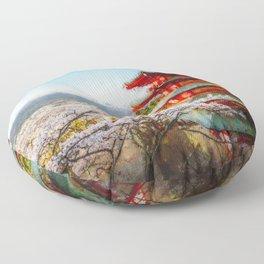 Temple at Mount Fuji Digital Oil Painting Floor Pillow