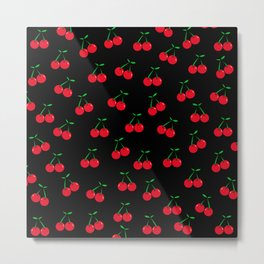 Cherries 2 (on black) Metal Print
