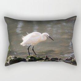 white heron bird by the river Rectangular Pillow