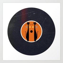 Vinyl Record Art MidCentury Modern Art Cat Double 1.0 Art Print