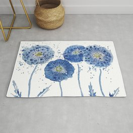 four blue dandelions watercolor Rug