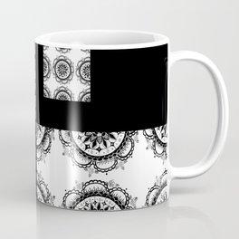 Black and White Rounded Mandala Patch Textile Coffee Mug