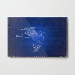 Seagull Blue Print, Nautical, Coastal, Beach Art  Metal Print