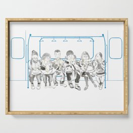 Watercolor Illustration of people on the subway playing phones reading resting kissing Serving Tray