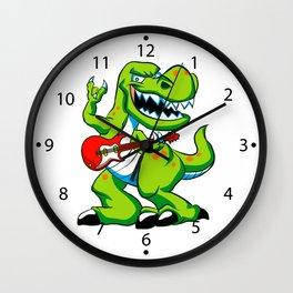 Dino rock plays a guitar. Wall Clock