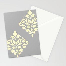 Scroll Damask Art I Yellow on Grey Stationery Cards