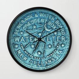New Orleans Water Meter Louisiana Crescent City NOLA Water Board Metalwork Blue Green Wall Clock