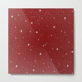Jolly Christmas Stars Pattern Metal Print