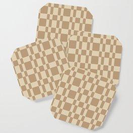 Retro 1950's Stitch Fabric Pattern Tan Coaster
