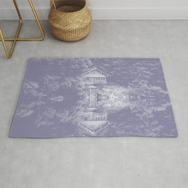 boathouse phantom violet tone washed out effect aesthetic landscape art photography Rug