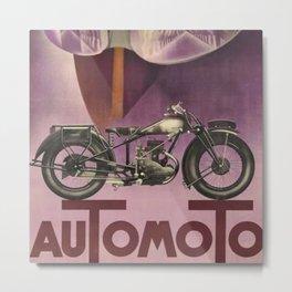1930 Vintage Art Deco Advertising Poster Automoto Motos Bicycles Motorcycles Version 2 Metal Print