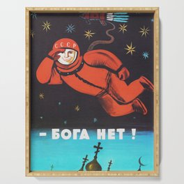 There's no god! / Бога Нет!, 1960's, USSR - Soviet vintage space poster Serving Tray