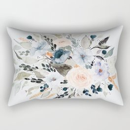 Loose Blue and Peach Floral Watercolor Bouquet  Rectangular Pillow
