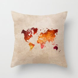 red world map watercolor art Throw Pillow