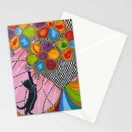 Black Cat Ringing The Bells Stationery Cards