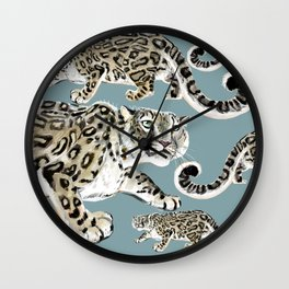 Snow leopard in blue Wall Clock