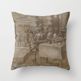 Salomon issues the order to build the temple, anonymous, 1552 Throw Pillow