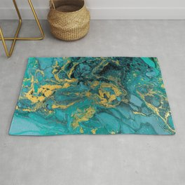 Abstract Pour Painting Liquid Marble Black Blue Teal Painting Gold Accent Rug