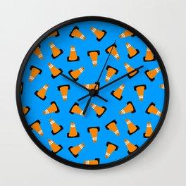 traffic cones on blue Wall Clock