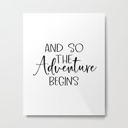 And So The Adventure Begins | Wood Sign | Adventure Wood Sign | Shiplap Sign | Farmhouse Decor | Mas Metal Print