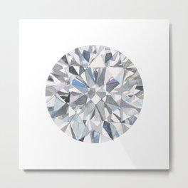 Diamond Gemstone Watercolour Painting Metal Print