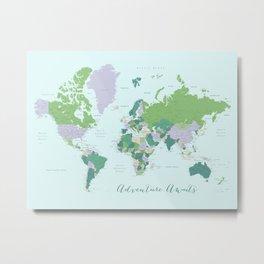 Adventure awaits world map green and purple Metal Print