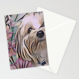 Cute puppy art with butterflies Stationery Cards
