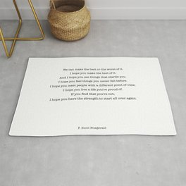 F Scott Fitzgerald quote Rug