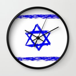 flag of israel 9-יִשְׂרָאֵל ,israeli,Herzl,Jerusalem,Hebrew,Judaism,jew,David,Salomon. Wall Clock