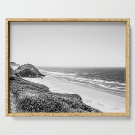 Beach Horizon | Black and White Color Sky Ocean Water Waves Coastal Landscape Photograph Serving Tray