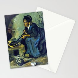 Gogh Peasant Woman Cooking by a Fireplace Stationery Cards